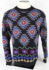 Vtg Izod Mens XL Navy Blue Cotton Knit Sweater Aztec Print Long Sleeve Crew Neck