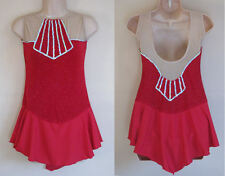 NWT AS UK 8 Ice Roller Skating Dress Red Majorette Baton Dance Costume Leotard