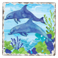 Dolphin Duo Absorbent Tile + Cork Backed Tumbled Coaster Set of 4