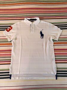 Polo Ralph Lauren Mens Big Pony Polo Shirt | White | Medium Custom Fit