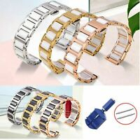 14-22mm Stainless Steel Link Bracelet Ceramic Band Watch Metal Strap w Tool Pins