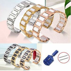 12-22mm Stainless Steel Link Bracelet Ceramic Band Watch Metal Strap w Tool Pins