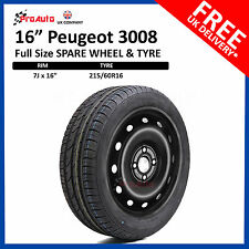 "PEUGEOT 3008 2008-2016 16"" FULL SIZE STEEL SPARE WHEEL AND TYRE 215/60R16"