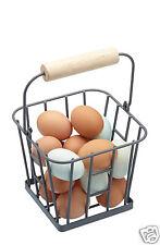 Living Nostalgia Soporte canasta de huevos de Metal Retro Vintage gris Portador Cuadrado