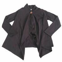 Bobeau Womens One Button Wrap Cardigan Sweater Black Fleece Lined Petite Small