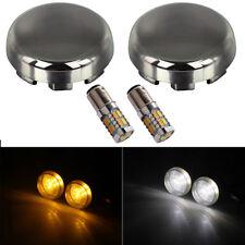 2x Bright Mirror Black Turn Signal Lens White/  Amber LED for Harley FXDF FLHTK