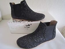 Pedro Garcia Black Gwen Glitter-finish Leather Ankle Boots Booty's Sz 36-6  $395