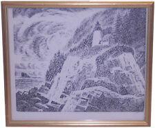 Vintage Wood Block Print Lighthouse Carroll Thayer Berry Listed Artist