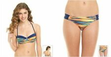 "HURLEY S Blue & Orange ""It's Electric"" Underwire Bandeau 2-Pc Bikini NWT $88"