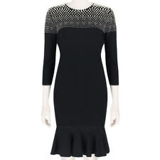 Alexander McQueen Ivory Faux Pearl-Embellished Knitted Black Dress L IT44