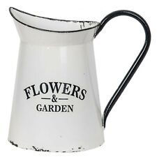 White Black Metal Enamel Wall Pocket Flowers & Garden Pitcher Farmhouse Country