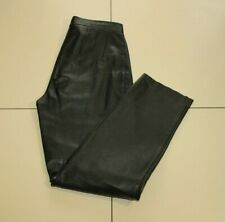 Vintage Women's Black Leather Zip High Wait Tapered Trousers Pants 10 / 38 L 30