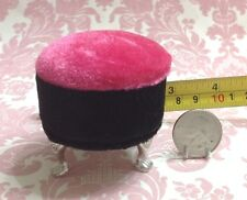 Barbie Dollhouse Furniture Hot Pink/Black Velvet Stool 3 legs(Monster High/etc)