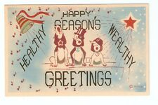 DB Postcard,Seasons Greetings,Christmas,3 Dogs Singing with Hats,The Richards Co