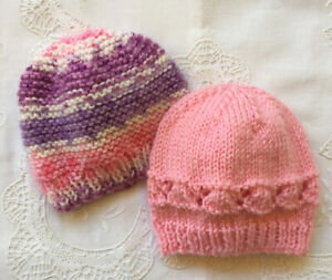 * 2 Premature (5lb) * Baby Beanies * Pinks & Mauve * (Warm) * Aust Hand Knitted*