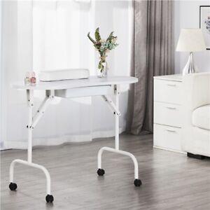 Foldable Nail Table Portable Mobile Manicure Desk Beauty Salon Workstation White