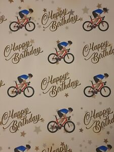 CYCLE BICYCLE RACING BIKE HAPPY BIRTHDAY GIFT WRAPPING PAPER DAD MENS