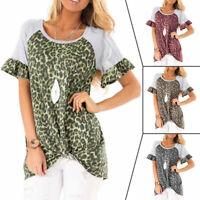 Fashion Women Tunic Casual Short Sleeve Leopard Loose Blouse T-shirt Tops
