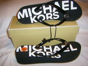 Michael Kors Flip-Flop Thong MK Logo Sandal Black/White Womens SZ 10 NEW IN BOX