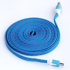 Longer 2M USB Cable iPhone 6S 6 5S 5C 5 Data Charger Lead Braided Blue