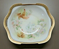 Antique TILLOWITZ Prussia RS GERMANY China MASTER BERRY Square BOWL- GOLD BORDER