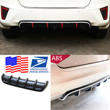 Car Black Universal Rear Shark Fin Style Bumper Lip Protector Diffuser 6 Fin Kit