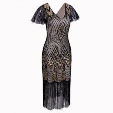 1920s Dress Flapper Great Gatsby Theme Evening Gowns Vintage Tassels Plus Size
