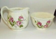 Crown Devon Staffordshire England, Mini Creamer and Sugar Bowl Set - Pink Roses