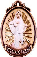 Medaille Der Madonna von Medjugorje CM 12 Geschnitzt IN Holz Der IN Gröden