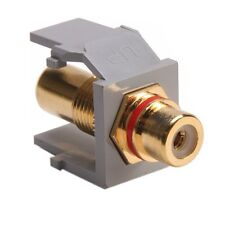 Leviton 40830-BGR QuickPort RCA, Gold-Plated Connector with Red Stripe, Grey