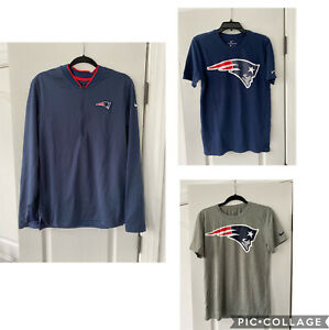 Lot 3 Nike NFL New England Patriots Fan Apparel - 2 Shirts 1 Sweater Sz Men S