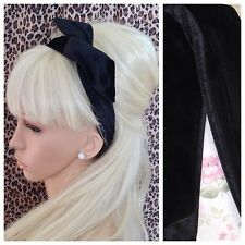 PLAIN BLACK VELVET VELOUR FABRIC BENDY WIRE HAIR WRAP HEADBAND WIRED 50s GLAMOUR