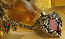 Vintage Steampunk Angel wing Guard Red Heart Necklace Court Carved golden 003