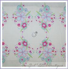 BonEful Fabric FQ Cotton Quilt Light Green Blue Hill Pink Purple Flower Leaf Dot