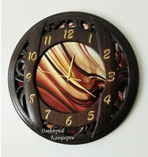 Wall clock fashion brand burgundy glass wenge wood round interior decor watch