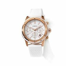 DRONE PRECISION TIMEPIECES ROSETONE WHITE SILICONE STRAP CHRONOGRAPH WATCH HSN