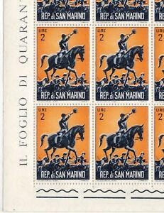 San Marino 1961 Sc's#478 Mint Sheet of 40 - 2 Lira - Fox Hunting - 2 Views