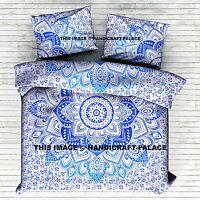 Mandala Imprimé Bleu Housse de Couette Indien King Bohème Literie Couverture Set