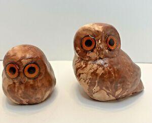 "Vintage Pine Scented Pottery Wood Grain Owls Animal Pair 4.5"" & 3"" Figures"