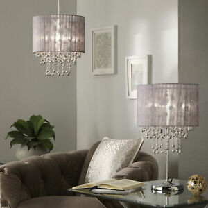 Chrome Table Lamp with Silver Grey Lampshade with Silver Grey Pendant (Separate)