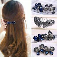 Women Girls Crystal Rhinestone Flower Barrette Hair Clip Clamp Hairpin