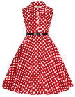 Kid Girls 50s Birthday Cocktail Formal Dress Dots Rock N Roll Swing Dress 6-12Y