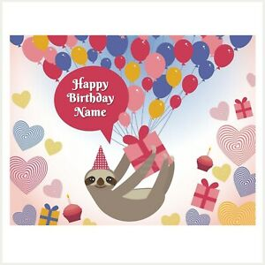 Sloth & Balloons Edible Image personalised icing cake topper party decoration