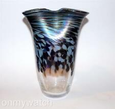 "Vtg IRIDESCENT Vase NUANCE ArT Glass 8"" Oil-Spot 🇺🇸 New Orleans Hand Blown '92"