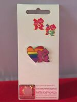 London 2012 Olympics RAINBOW HEART Enamel Pin Badge Limited Edition BRAND NEW
