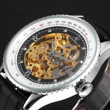 KS Men's Automatic Mechanical Wrist Watch Luxury Skeleton Black Leather Vintage