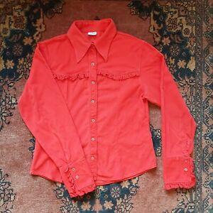 VINTAGE RETRO RED RUFFLE CORDUROY POINTED COLLAR SHIRT XS S 6 8 10 GEEK CHIC
