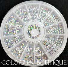 #W4  3D Multicolor Nail Art Decoration 4 Sizes White illusion Glitter Rhinestone