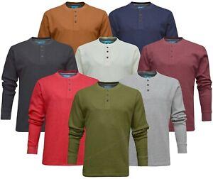 Mens Henley Jumper Top Plain Grandad Neck Waffle Knit T-shirt M-3XL by Beebizco