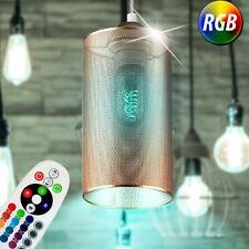 RGB LED Péndulo Lámpara Control Remoto Salón Cubrir Regulador Colgante Oro